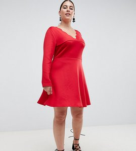 Read more about Ax paris plus scalloped edge swing dress - red