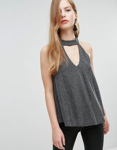 Read more about New look choker strappy cami - black pattern