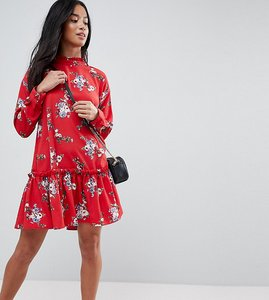 Read more about Asos design petite smock mini dress with pep hem in red floral - multi