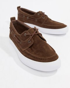 Read more about Asos design vegan boat shoes in brown faux suede - brown