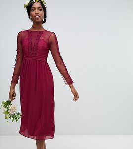 Read more about Tfnc tall lace detail bridesmaid midi dress in burgundy