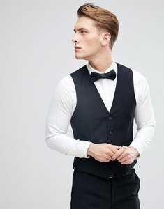 Read more about French connection slim fit tuxedo waistcoat - black