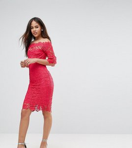 Read more about Paper dolls tall off shoulder crochet midi dress with frill sleeve - fuchsia