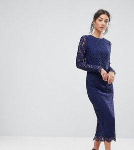 Read more about Asos tall wedding lace long sleeve midi pencil dress - navy