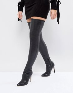 Read more about Asos kendra point over the knee boots - black pu