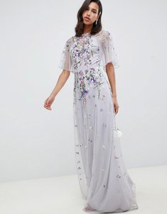 Read more about Asos design floral embroidered dobby mesh flutter sleeve maxi dress - dusty grey