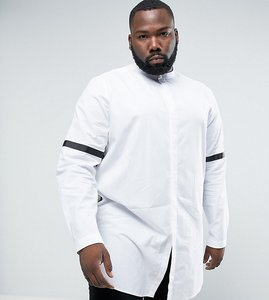 Read more about Asos plus regular fit super longline shirt with taping - white