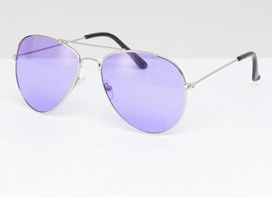 Read more about 7x aviator sunglasses with coloured lens - purple