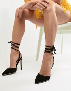 Read more about Public desire qween black studded ankle tie heeled shoes - black suede