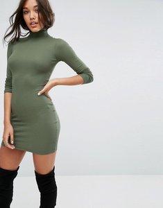 Read more about Asos mini rib bodycon dress with polo neck - khaki