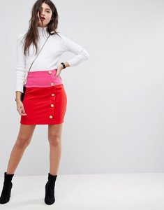 Read more about Asos mini skirt in colourblock with button detail - red pink