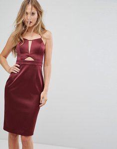 Read more about Forever new structured midi dress in satin with cut out - burgundy