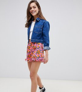 Read more about Asos design petite frill hem shorts in orange print - orange print