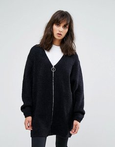 Read more about Weekday fluffy cardigan with zip - black