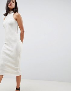 Read more about Asos design knitted midi dress in skinny rib - oatmeal