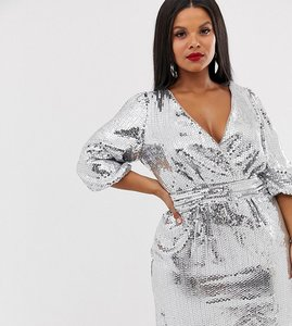 Read more about Tfnc plus sequin wrap front mini dress in silver