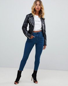 Read more about Asos ridley high waist skinny jeans with gia styling in freddie dark blue wash - mid wash blue