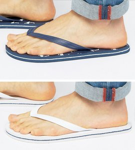 Read more about Asos flip flops 2 pack in navy and white save - multi