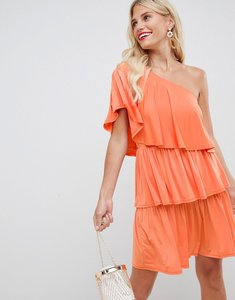 Read more about Asos design slinky one shoulder frill mini dress - bright orange