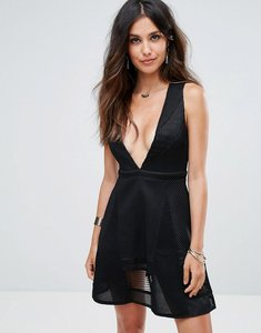 Read more about Glamorous lace skater dress - black