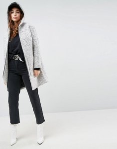 Read more about Asos hooded textured coat with ring pull - grey