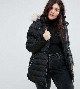 Read more about New look curve faux fur glam padded jacket - black
