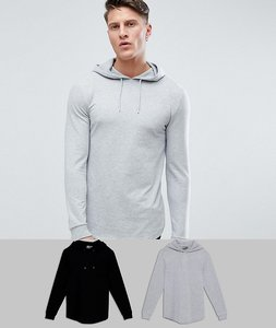 Read more about Asos longline muscle fit hoodie 2 pack with curved hem in black grey marl save - mu1 - multi 1