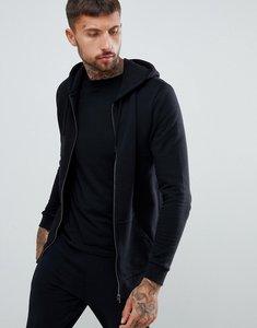 Read more about Asos design longline zip up hoodie in black - black