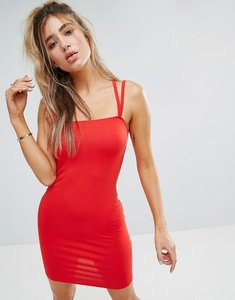 Read more about Asos mini double strap bodycon dress - red