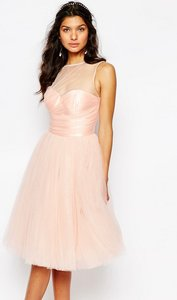 Read more about Chi chi london glitter tulle midi dress with pleated bust - nude