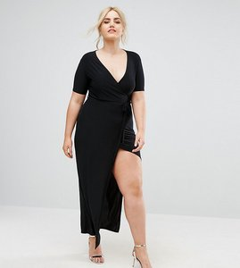 Read more about Club l plus slinky wrap front maxi dress - black