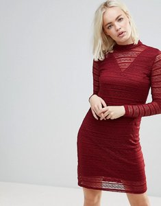 Read more about B young lace dress with sheer panels - burgundy