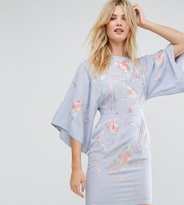 Read more about Asos tall kimono mini dress with embroidery - pale blue