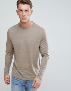 Read more about Asos long sleeve t-shirt in linen mix in beige - kiln
