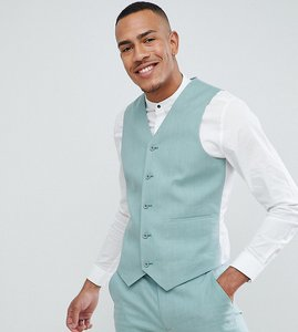 Read more about Asos design tall wedding super skinny suit waistcoat in sage green linen - sage green