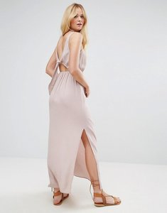 Read more about Asos open back maxi with bow detail dress - stone