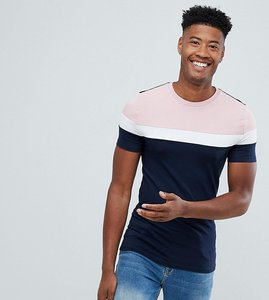 Read more about Asos design tall muscle t-shirt with colour block in navy - navy