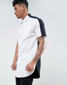 Read more about Asos regular fit super longline shirt in monochrome - white