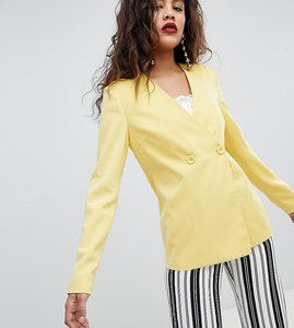 Read more about Fashion union tall relaxed blazer co-ord - yellow