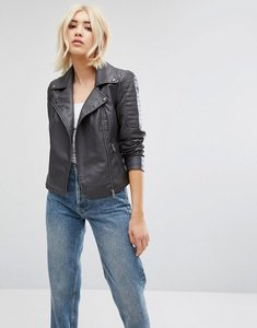 Read more about Noisy may faux leather jacket - dark grey