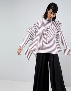Read more about Asos white multi stripe waterfall frill top - burgundy