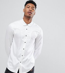 Read more about Asos design tall regular fit western viscose shirt in white with black poppers - white