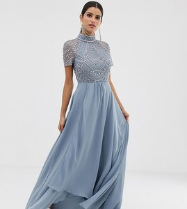 Read more about Asos design tall maxi dress with short sleeve embellished bodice