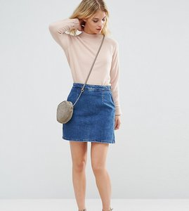 Read more about Asos petite denim a line skirt in midwash blue - blue