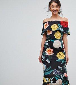 Read more about True violet tall bardot pephem midi dress in bold floral print - black floral