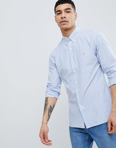 Read more about Polo ralph lauren slim fit stripe poplin shirt button down collar polo player in blue - azure blue