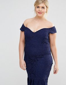 Read more about Paper dolls plus lace bardot pencil dress with peplum hem - navy