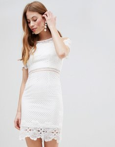 Read more about Glamorous cold shoulder lace dress - white