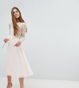 Read more about Amelia rose tall embroidered long sleeve midi dress with plunge back detail - nude