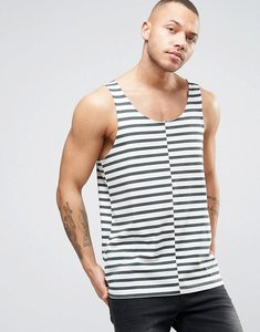 Read more about Asos relaxed vest with raw edge and stripes - white grey